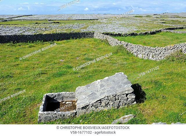 Ireland, County Galway, Aran Islands, Inishmore, Traditional stone trough