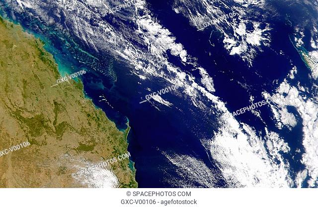 The Great Barrier Reef off Australia is seen in this satellite image