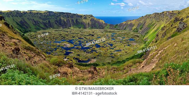 Rano Kau volcano crater and wetland, Honga Roa, Unesco World Heritage Site, Rapa Nui National Park, Easter Island, Chile