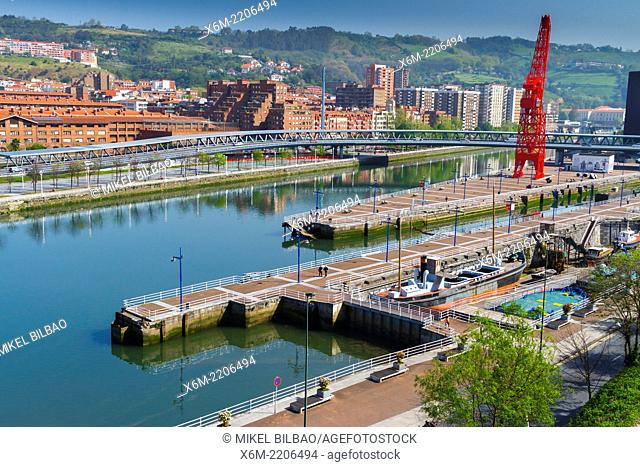 Nervion river in Abandoibarra zone. Bilbao, Biscay, Basque Country, Spain, Europe
