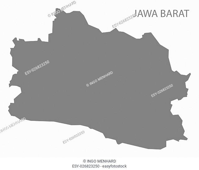 Jawa Barat Indonesia Map in grey