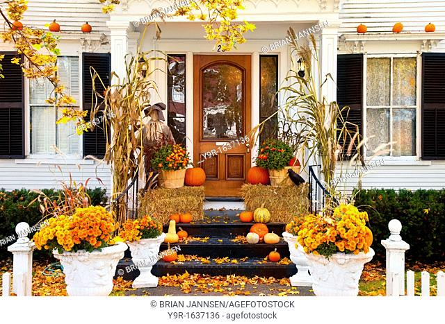 Front porch in autumn, Woodstock, Vermont, USA