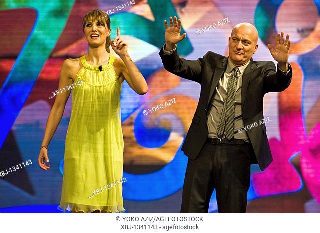 08 02 2011, Milan, Zelig telecast  Paola Cortellesi and Claudio Bisio