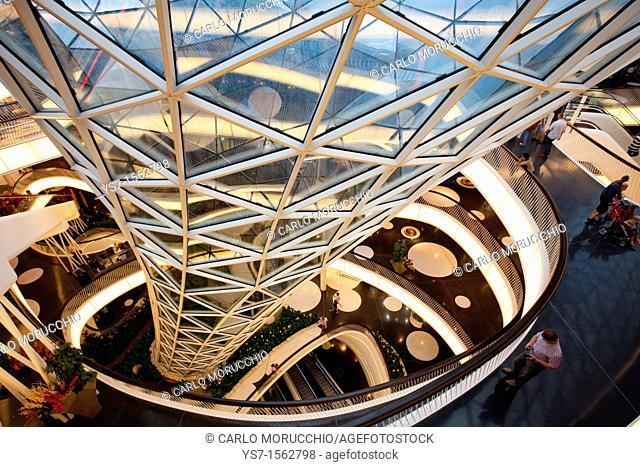 Interior of MyZeil shopping mall by Massimiliano Fuksas in Frankfurt am Main, Germany, Europe
