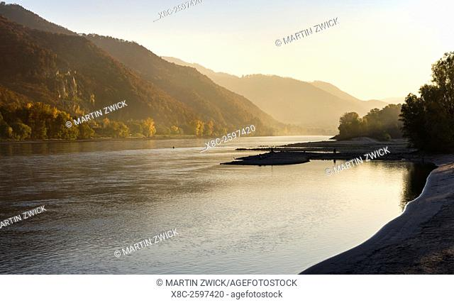 The Danube flowing through the Wachau area. The Wachau is a famous vineyard and listed as Wachau Cultural Landscape as UNESCO World Heritage