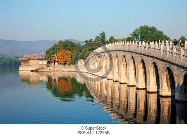 Arch bridge across a lake, Seventeen-Arch Bridge, Kunming Lake, Summer Palace, Beijing, China
