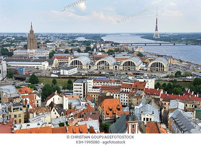 aerial view over the Dauvaga River and the Central Market from St-Peter's church tower, Riga, Latvia, Baltic region, Northern Europe