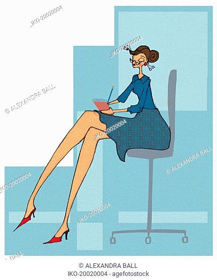 Secretary taking dictation notes