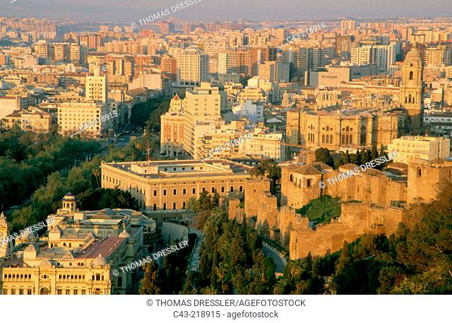 View of Málaga (in the foreground on the right, the Moorish Alcazaba & Cathedral). Andalusia. Spain