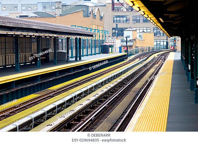 New York City subway platform and tracks