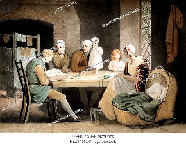 Three generations listening to a reading from the family Bible, c1800. Grandparents, parents and two children sit at the table