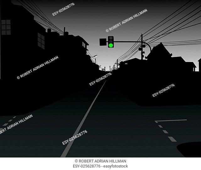 Editable vector design of green traffic light over a dark and empty street