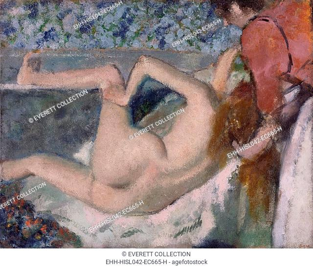 After the Bath, by Edgar Degas, 1895, French impressionist painting, oil on canvas. A maid attends to the long hair of nude woman whose leg is naturally