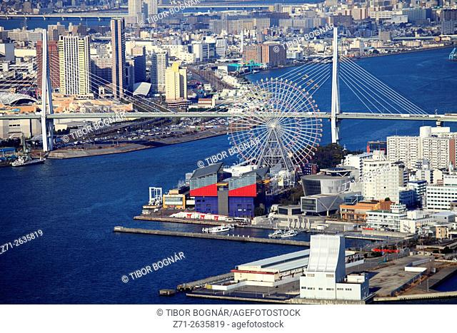 Japan, Osaka, Bay Area, aerial view, Ferris Wheel; Tempozan Harbor Village; Tempozan Ohashi Bridge;