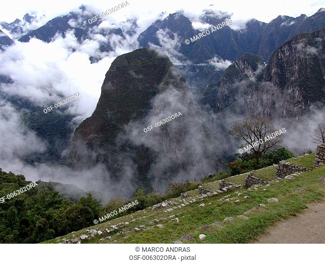 peru machu pichu national rocky park aerial view