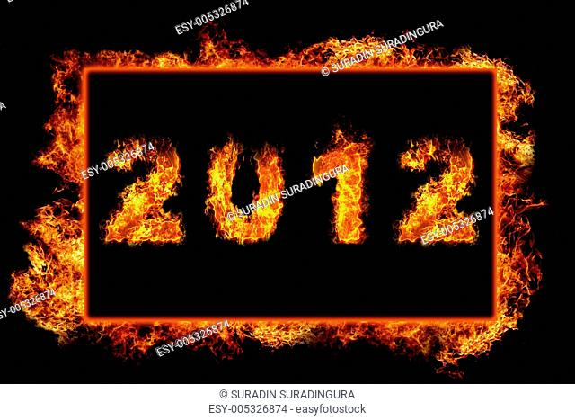 New Year 2012 with fire in burning frame