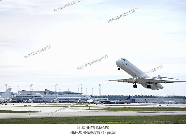 An aeroplane leaving Arlanda airport, Sweden