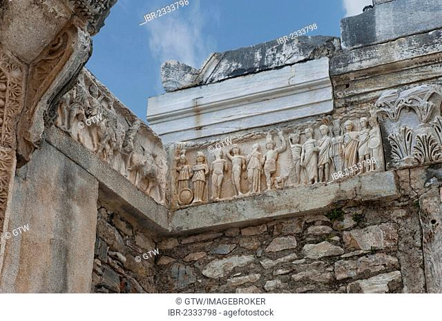 Hadrian Temple, detail of the frieze of the foundation myth, Ephesus, Izmir Province, Turkey