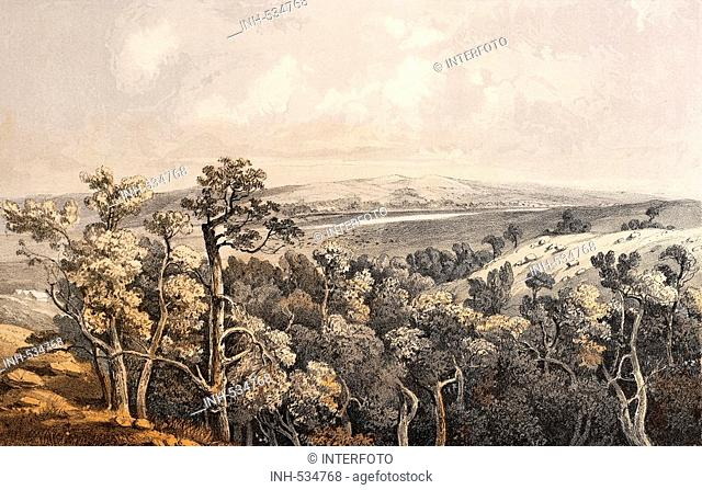 geography / travel, USA, landscapes, Butte de Morale, elevation on Cheyenne River, colour lithograph for 'Reports of explorations and surveys to ascertain the...