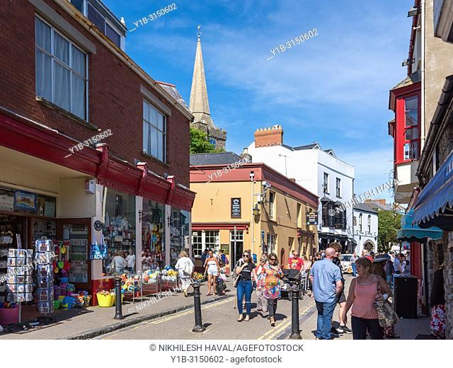 Shops on St. George's Street, Tenby, Wales, UK