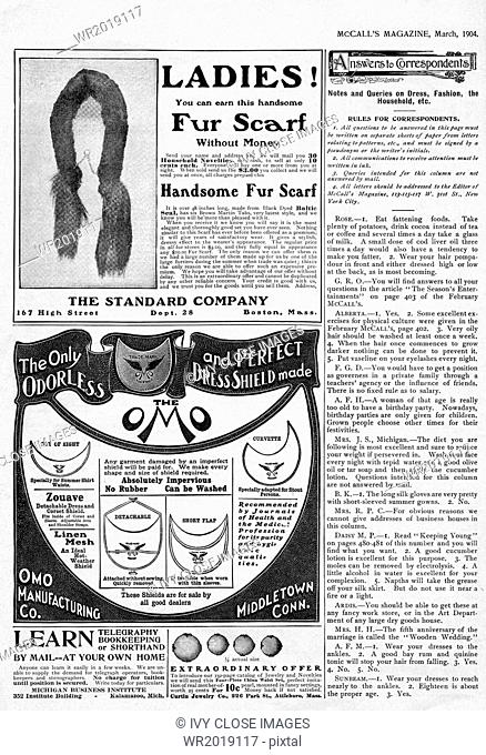 This page from McCall's Magazine, March 1904, includes advertisements (ads) for a ladies fur scarf and dress shields