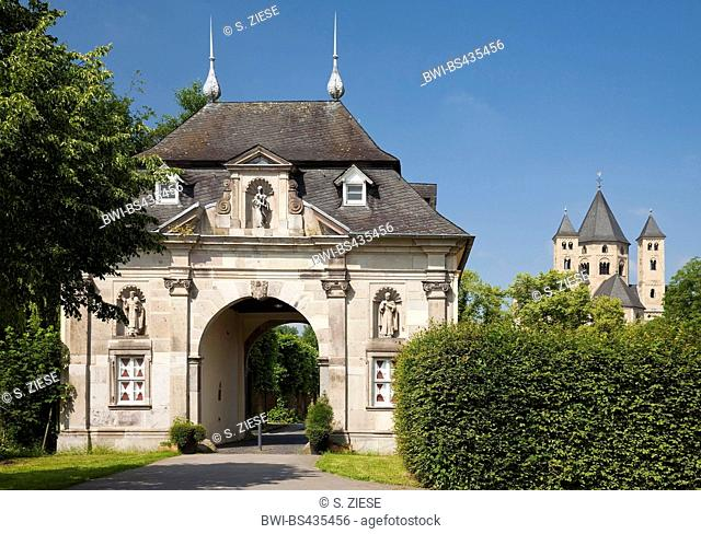 gatehouse with basilica minor Saint Andreas, Knechsteden Abbey, Germany, North Rhine-Westphalia, Lower Rhine, Dormagen