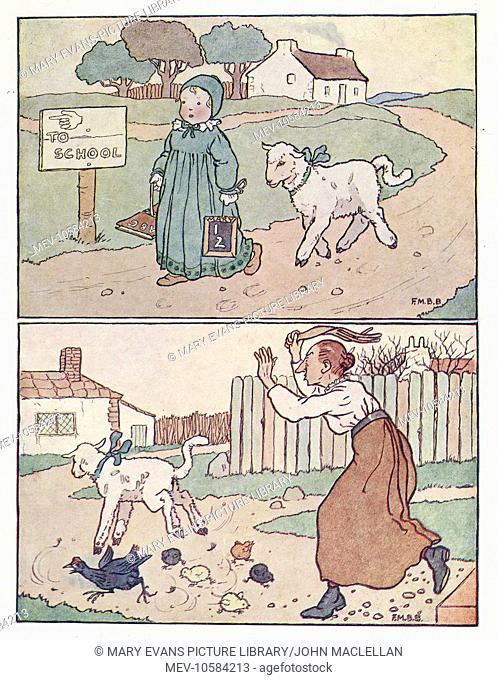 Nursery Rhymes -- Mary Had a Little Lamb. The lamb follows Mary to school, but the teacher chases the lamb away