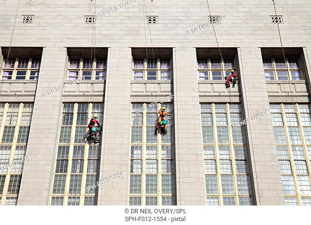 Window cleaners on building, Cape Town