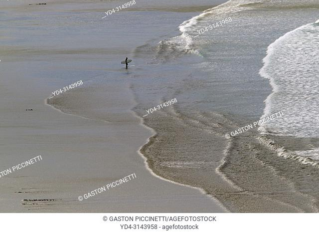 Surfer in the beach, near to Port Elliot, Fleurieu Peninsula, South Australia, Australia