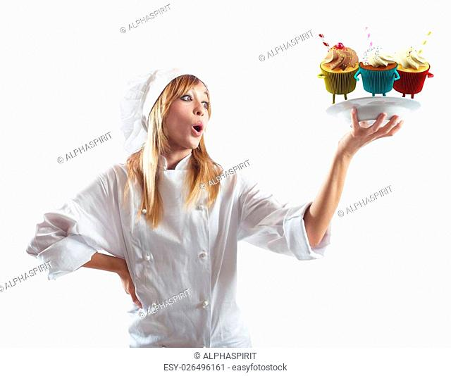 Chef surprised by her delicious dessert pastries