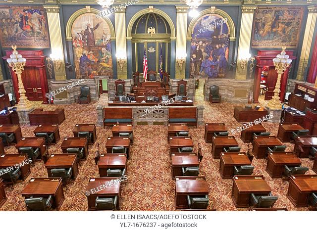 Inside the Senate chambers of the Pennsylvania state capitol building in Harrisburg