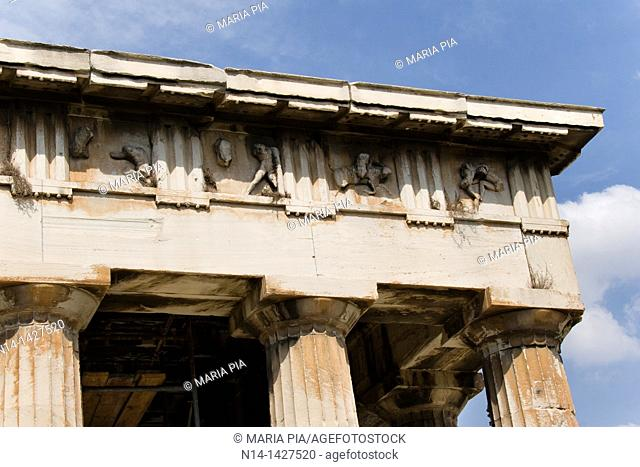 Frieze of The Temple of Hephaestus, best-preserved ancient Greek temple, detail, Athens, Greece