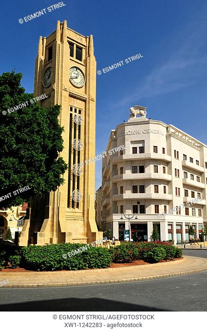 Clocktower at Place de l' Etoile in the historic center of Beirut, Beyrouth, Lebanon, Middle East, West Asia