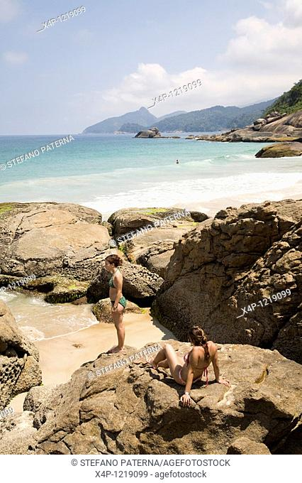 Lopes Mendes Beach. The island Ilha Grande with its 86 beaches is about 100 km from Rio de Janeiro away. Most of the island os covered by the atlantic...
