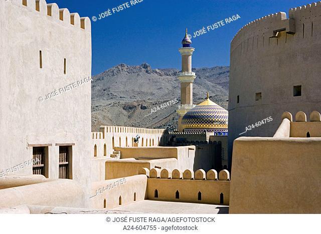 Oman. Nizwa City. Nizwa Fort and Main Mosque