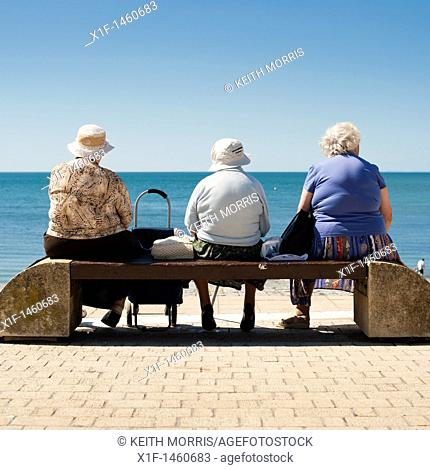 rear view of three old elderly women sitting on a seaside bench Aberystwyth Wales UK