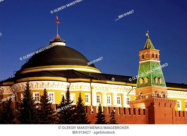 Administrative building at night, Red Square, The Kremlin, Moscow, Russia