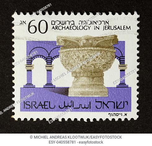 ISRAEL - CIRCA 1970: Stamp printed in Israel shows a picture of archaeology in Jerusalem, circa 1970