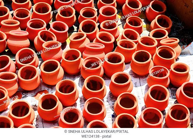 Orange clay pots,Poona, Maharashtra, India