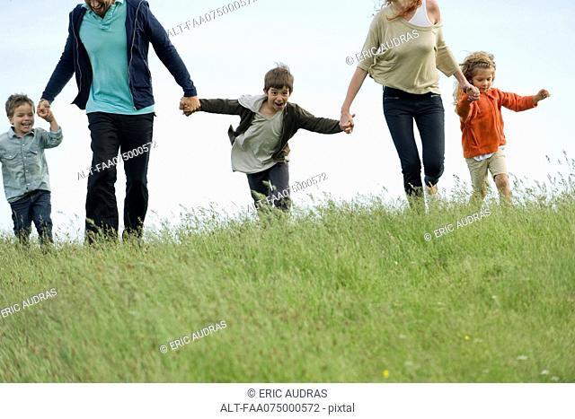 Family running together hand in hand in field