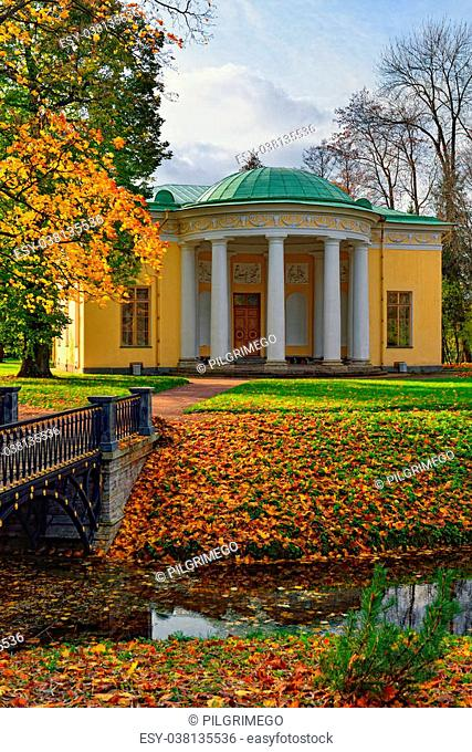 """Autumn landscape in Catherine park, Pushkin, Russia. View to the """"""""Concert Hall"""""""" pavilion"""