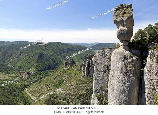 France, Lozere, Le Rozier, Jonte gorges, the Causse Mejean climbing cliffs and the village of Peyreleau, the Causses and the Cevennes