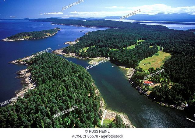Aerial of Gabriola Island, British Columbia, Canada