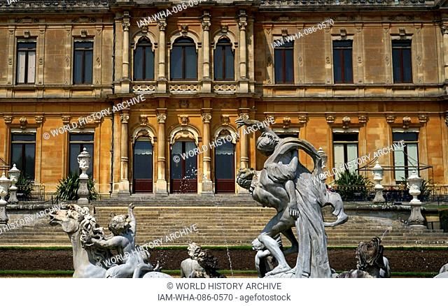 Epic fountain depicting Roman mythological characters in the gardens of Waddesdon Manor, a country house in the village of Waddesdon