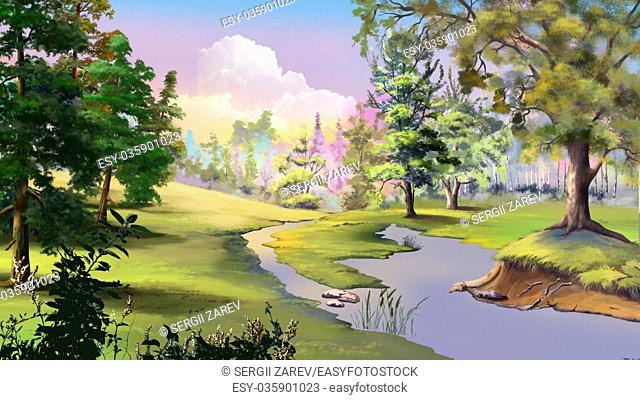 Beautiful view of idyllic autumn landscape with River and Forest Edge. Digital Painting Background, Illustration