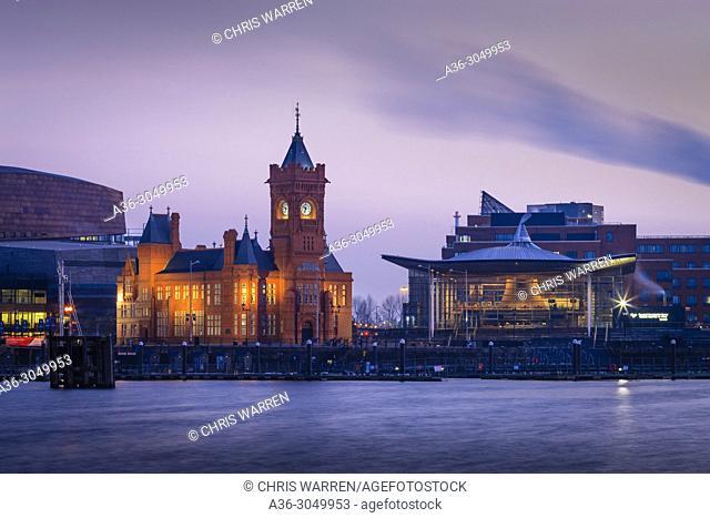 Pier House and Senedd Cardiff Bay Cardiff Wales
