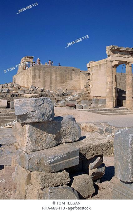 The ruins of the Acropolis of Lindos, archaeological site on the island of Rhodes, Dodecanese, Greek Islands, Greece, Europe
