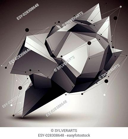 3D vector abstract design object, polygonal complicated figure with lines mesh