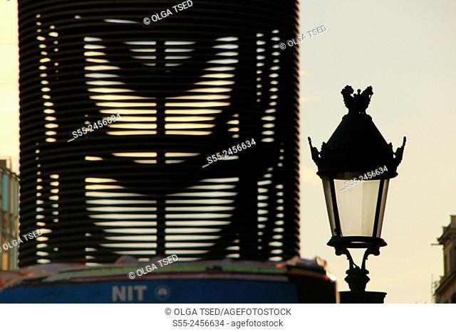 Streetlight, backlit, Plaza Catalunya, Barcelona, Catalonia, Spain