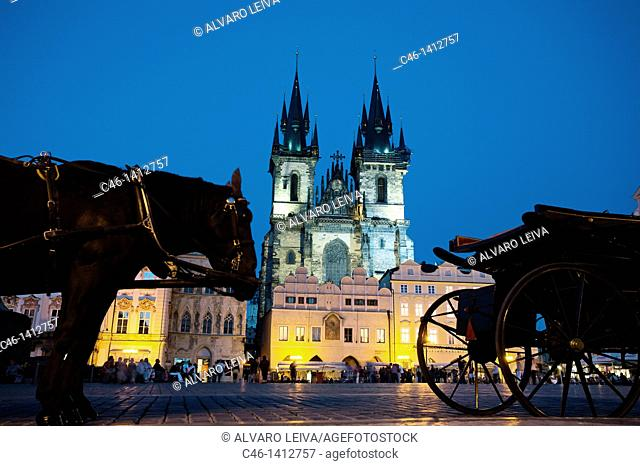 Horse carriages at Old Town Square in Prague, Prague, Czech Republic